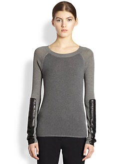 Reed Krakoff - Leather-Patch Baseball Sweater