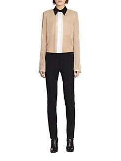 Reed Krakoff - Leather-Collar Silk Chiffon Blouse