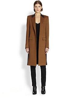 Reed Krakoff - Leather-Trimmed Cashmere & Wool Coat
