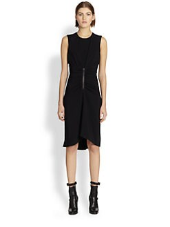 Reed Krakoff - Ruched Leather-Accent Dress
