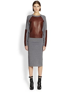 Reed Krakoff - Leather & Cashmere-Blend Baseball Sweater