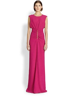 Reed Krakoff - Ruched Leather-Accent Gown