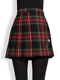 Saint Laurent - Pleated Plaid Wool Mini Skirt