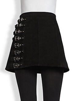 Saint Laurent - Suede Buckle-Detail Mini Skirt
