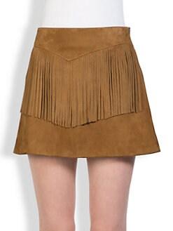 Saint Laurent - Fringe-Trimmed Suede Skirt