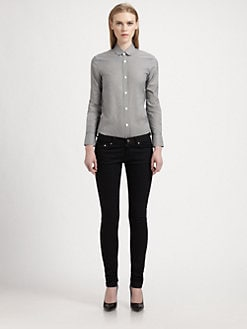 Saint Laurent - Houndstooth Poplin Blouse