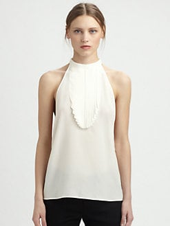 Saint Laurent - Silk Pleated Bib Blouse