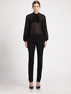 Saint Laurent - Silk Georgette Bow Blouse