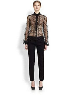 Saint Laurent - Resille Dot Ruffle Blouse