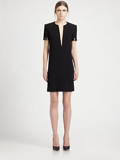 Saint Laurent - Leather-Trimmed Cady Dress