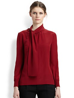 Saint Laurent - Silk Tie-Neck Blouse