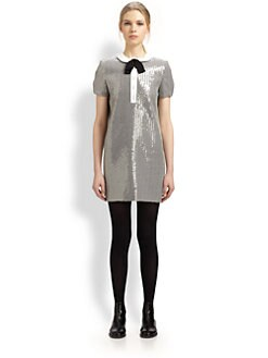 Saint Laurent - Sequined Peter Pan Collar Dress