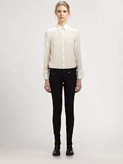 Saint Laurent - Silk Ruffle-Cuff Blouse