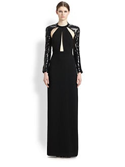 Saint Laurent - Sequined Cutout Bolero Gown