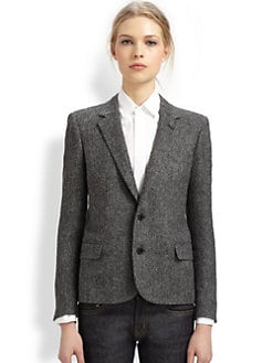 Saint Laurent - Tweed Elbow-Patch Blazer
