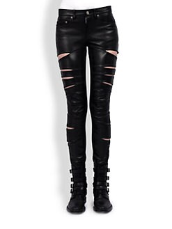 Saint Laurent - Slit Leather Pants