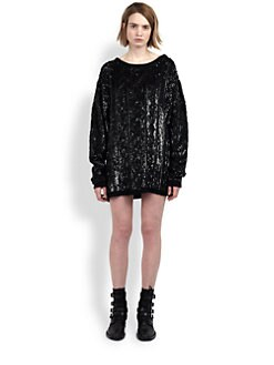 Saint Laurent - Sequined Cabled Sweater Dress