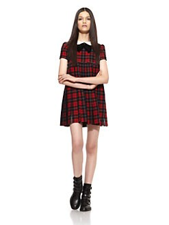 Saint Laurent - Collared Plaid Dress