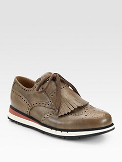 Prada - Perforated Leather Sneakers with Kiltie