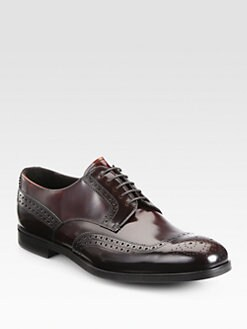 Prada - Spazzolato Bi-Colored Wingtip Lace-Ups