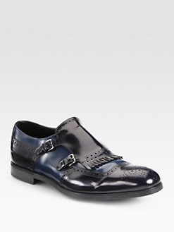 Prada - Spazzolato Bi-Colored Kiltie Slip-Ons