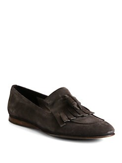 Prada - Suede Kiltie Tassel Slip-Ons