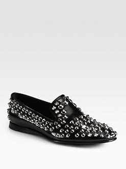 Prada - Spazzolato Studded Slippers