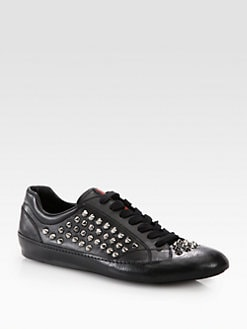 Prada - Studded Leather Sneakers