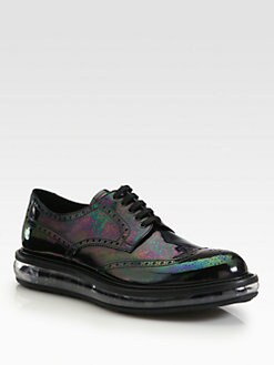 Prada - Vernice-Oiled Wingtip Lace-Ups