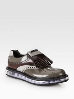 Prada - Spazzolato Tricolor Kilt Lace-Ups