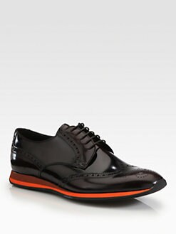Prada - Spazzolato Leather Lace-Up Sneakers