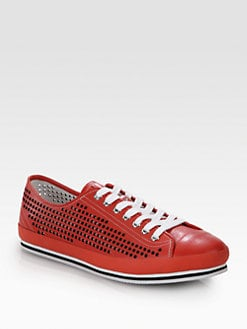 Prada - Nevada Cutout Leather Sneakers