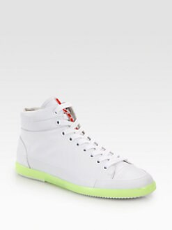 Prada - Leather High-Top Sneakers