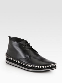 Prada - Studded Leather Lace-Ups