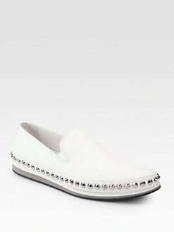Prada - Leather Slip-Ons with Studded Trim