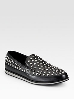 Prada - Studded Leather Slip-Ons
