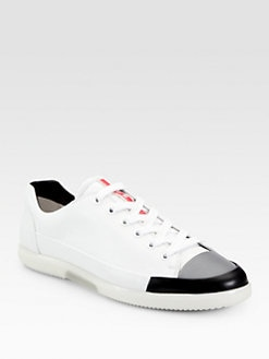 Prada - Leather Lace-Up Sneakers