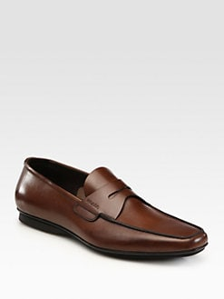 Prada - Leather Penny Loafers