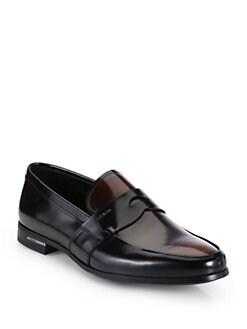 Prada - Bi-Color Spazzolato Penny Loafers