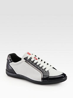 Prada - Leather Lace-Up Sneaker