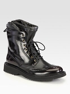 Prada - Spazzolato Wing-Tip Lace-Up Boot