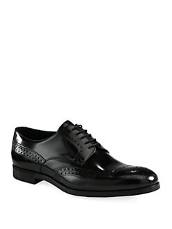 Prada - Leather Wingtip Lace-Up