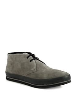 Prada - Suede Lace-Up Ankle Boot