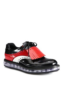 Prada - Spazzolato Tricolor Kilt Lace-Up