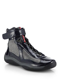 Prada - High-Top Patent Sneakers