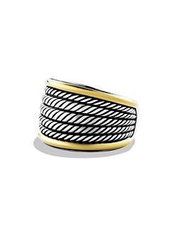 David Yurman - Sterling Silver & 18K Yellow Gold Cuff Ring