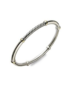 David Yurman - Sterling Silver & 18K Yellow Gold Bracelet