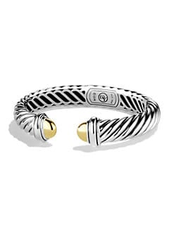 David Yurman - Sterling Silver & 18K Yellow Gold Bracelet/10MM