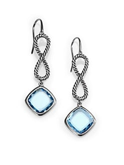 David Yurman - Blue Topaz & Sterling Silver Drop Earrings