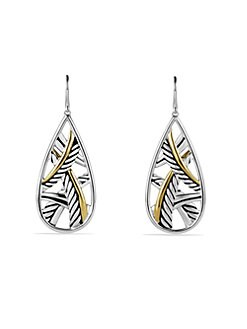 David Yurman - Sterling Silver & 18K Yellow Gold Teardrop Earrings